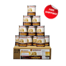 Chicken All Natural 12 Per Box 28oz Jumbo Cans by Survival Cave